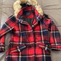 American Eagle Outfitters Jackets & Coats | Ae Plaid Cozy Coat With Faux Fur Hood Trim | Color: Cream/Red | Size: M