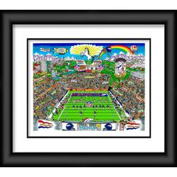 """Denver Broncos Fanatics Authentic Deluxe Framed 23"""" x 27"""" Artist Enhanced Three-Dimensional Art Print Hand Painted and Signed by Charles Fazzino"""