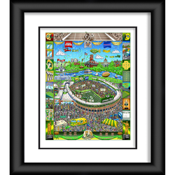 """Green Bay Packers Fanatics Authentic Framed 23"""" x 27"""" Artist Enhanced Deluxe Three-Dimensional Art Print Hand Painted and Signed by Charles Fazzino"""