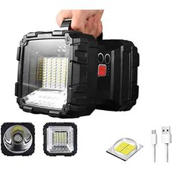 XHP50 LED Spotlight Flashlight with Build-in 15000mAh Battery Power Bank 4000Lumens 7 Lights Modes with Red Blue Warning Light USB Rechargeable Spotlight for Roadside Repairing Emergency Camping