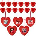 Jetec 20 Pieces Valentine's Day Photo Ornament Frame Glitter Heart Hanging Felt Photo Frame Romantic Mini Holiday Red Picture Frame Ornament with Red Hanging Rope for Valentine's Day Wedding Birthday