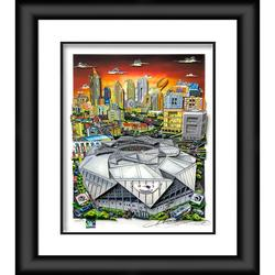 """""""Super Bowl LIII Framed 23"""""""" x 27"""""""" Artist Enhanced Deluxe Three-Dimensional Art Print Hand Painted and Signed by Charles Fazzino"""""""