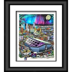 """""""Fanatics Authentic Super Bowl LII Framed 23"""""""" x 27"""""""" Artist Enhanced Deluxe Three-Dimensional Art Print Hand Painted and Signed by Charles Fazzino"""""""