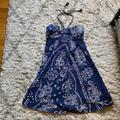 American Eagle Outfitters Dresses | Ae Navy Blue Cotton Printed Strapless Halter Dress | Color: Blue/White | Size: M