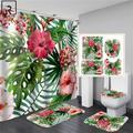 Rideau de douche imprimé feuilles élégantes, grandes fleurs avec crochets, rideau de salle de bain