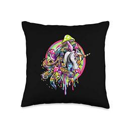 Magic Horse Unicorn Animal Colors Girls Colorful Horse Cartoon Fantasy Unicorn Kids Girls Gifts Throw Pillow, 16x16, Multicolor