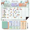 Reward Chart for Multiple Kids 17 x 12 Inch Dry Erasable Chore Chart | Magnetic Responsibility Chart, Chore Chart, Behavior Chart,Star Chart for Toddlers | Large Size with White Board Marker
