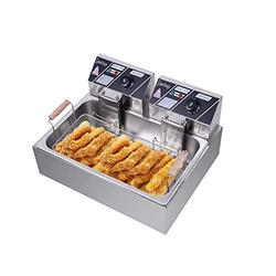 Taotuo Commercial Deep Fryer 5000W 22L Stainless Steel Electric Deep Fryer with Double Baskets Countertop Deep Fryer Dual Tank Deep Fryer for Commercial/Restaurant/Fast Food Bar/Home-22L