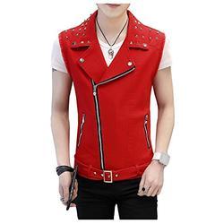 LifeHe Men's Sleeveless Lapel Punk Zipper Denim Jean Vests Jacket With Rivets (Red, XXL)