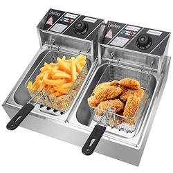 Taotuo Commercial Deep Fryer 5000W 6L+6L Stainless Steel Electric Deep Fryer with Double Baskets Countertop Deep Fryer Dual Tank Deep Fryer for Commercial/Restaurant/Fast Food Bar/Home-12L