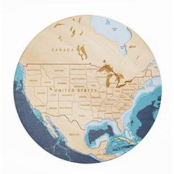 3D US Wood Map Wall Art With Wood Gift Box (laser printing), USA Round Map, US Wooden Map, Wall Art Wooden Maps, United States Map, House Warming Gifts New Home, Wooden Wall Art Decor, Map Of The USA, Wood Paint, Wall Hangings (L)
