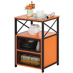 VECELO Night Stand, End Side Table with Storage Space and Door,Modern Nightstands for Living Room,Bedroom, Orange
