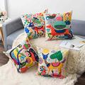 Wyooxoo Kids Cartoon Zoo Throw Pillow Covers 18X18 inch Cute Colorful Animal Home Decor Outdoor Linen Fabric Cushion Cases for Girls Children Room,Living Room,Sofa Couch Set of 4