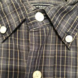 American Eagle Outfitters Shirts | Men'S Vintage American Eagle Ls Button Down Shirt | Color: Black/Blue | Size: M