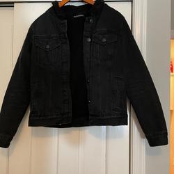 Brandy Melville Jackets & Coats | Black Jean Jacket With Fur Trim | Color: Black | Size: Os