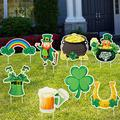 Jetec 8 Pieces St. Patrick's Day Yard Sign Decorations Irish Saint Patrick's Day Outdoor Decorations Shamrock Horseshoe Yard Stake Signs Lawn Garden Welcome Signage with 16 Plastic Stakes