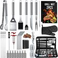 SixSun 34PCS BBQ Grill Tools Set Stainless Steel Grilling Accessories with Spatula, Tongs, Skewers for Barbecue, Camping, Kitchen, Complete Premium Grill Utensils Set in Storage Bag