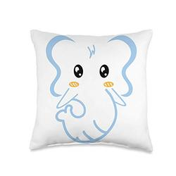 Kdit Elephant Cute For Kids Graphic Design Animal Cartoon Throw Pillow, 16x16, Multicolor