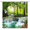 """XZMAN Forest Waterfall Shower Curtain Nature Rainforest Tree Wild Animals Deer Birds Flower Butterfly Sunrise Summer Scenery Bathroom Decor Quick Drying Polyester Fabric Set with Hooks,(180"""" Wx70 H)"""