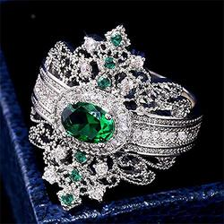 925 Sterling Silver Emerald Ring Shiny Full Diamond Ring Oval Perfect Cut 1Ct Cubic Zirconia Rings CZ Diamond Multi Row Ring Eternity Engagement Wedding Band Ring for Women (US Code 10)