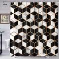 Black and White Shower Curtain Irregular Black and White 3D Three-Dimensional Pattern Art Shower Curtain 72x72inch Simple Bathroom Decor Covering Durable Shower Curtain with Hook YLHXTE569