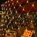 All-Conquering 9.8ft X 6.6ft 200 LED Net Lights Outdoor Mesh Lights, 8 Modes Low Voltage Net String Lights, LED Christmas Net Lights for Bedroom, Bush, Wedding, Garden (Warm White)