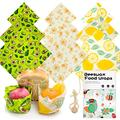 Beeswax Food Wraps Set 9 pack Reusable Multi-size Buzzee Food Paper Covers Eco-friendly Cute Sandwich Alternative Plastic Food Storage,Organic Wax Wrap,Eco-friendly Bees Wrap,Cheese Bee Wrappers Cling