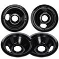 WB31M19 WB31M20 Drip Pan Bowl Set 4 Pack Compatible with GE Electric Range by APPLIANCEMATES, Replacement Part 2 Pack for 8 inch and 2 Pack for 6 Inch Burner (Black Porcelain)