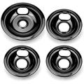 APPLIANCEMATES Burner Drip Bowls W10290350 & W10290353 1 Large and 3 Small Black Porcelain Stove Drip Pans for Whirlpool Electric Range 4-Pack, Replacement Parts 1 Pack 8 inch and 3 Pack 6 Inch