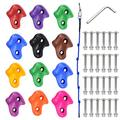 MBVVLZJVN 12 PCS Climbing Holds Set Multi-Colored Craft DIY Rock Climbing Wall for Kids with 8ft Knotted Climbing Rope,Mounting Screws and Hardware for Indoor and Outdoor Play Set