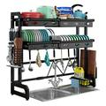 Over the sink dish drying rack adjustable, Countertop dish drainer rack,2 Tier over the sink dish drainer (24.41-37.6Inches) Hight - Quality dish drying rack black in sink dish drainer