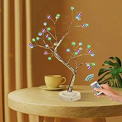 """Landwalker Tabletop Bonsai Tree Light, 20"""" Lighted Little Birch Tree DIY Artificial Tree Lamp with Battery/USB Operated Bedroom Desktop Home Christmas(16 Multicolor 36L Crack Ball Remote Contorl)"""
