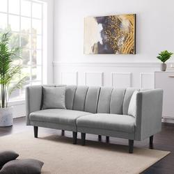 """George Oliver Givens 73.62"""" Linen Round Arm LoveseatWood/Linen/Linen Blend in Gray, Size 31.5 H x 73.62 W x 32.28 D in   Wayfair"""