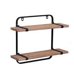 Gneric Wall Mounted Shelving Unit Rustic Floating Shelves Wall Mounted Industrial Shelves Wood Bathroom Shelf 2 Tier Wall Mounted Shelves Double Wall Shelf Floating, Mudroom, Kitchen, Bathroom