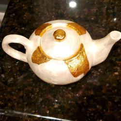 Anthropologie Kitchen | Anthropologie Ursula Capiz Teapot | Color: Gold/White | Size: Os