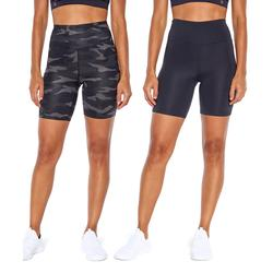 Balance Collection Women's Active Shorts BLACK/BLACK - Black Lance Camo Combo 7'' Bike Shorts - Set of 2