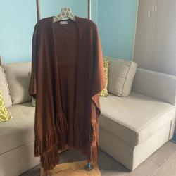 Free People Accessories | Free People Fringed Ruana | Color: Brown/Orange | Size: Os