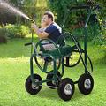 Garden Hose Reel Cart with Wheels Heavy Duty Yard Watering Cart Holds 300 Feet of 5/8-inch Hose with Storage Basket, Outdoor Lawn Watering Cart, Green