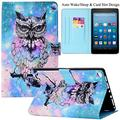 Kindle Fire HD 8 Case,Artyond PU Leather Card Slot Cover [Anti-Slip Stripe] with Smart Magnetic Snap Auto Sleep/Wake Feature Protect Case for Amazon Kindle Fire HD 8 2016/2017 Release (Big Owl)