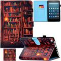 Kindle Fire HD 8 Case,Artyond PU Leather Card Slot Cover [Anti-Slip Stripe] with Smart Magnetic Snap Auto Sleep/Wake Feature Protect Case for Amazon Kindle Fire HD 8 2016/2017 Release (Bookrack)