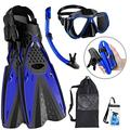 xdobo Snorkeling Gear for Adults Snorkel Set Scuba Snorkel Mask + Foldable Diving Snorkel Tube + Adjustable Snorkeling Fins/Swimming Flippers Comes with Carry Bag and Waterproof Phone Bag (Blue, L)