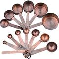 Measuring Cups and Measuring Spoons Set, Copper Measuring Cups and Spoons Set, Stainless Steel Measuring Cups and Spoons, Copper Plated Measuring Cups Spoons, 6 Measurer cups, 7 Measurement Spoons