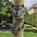 VJRQM Garden Tree Decoration Accessories Raccoon Statues Tree Hugger Solar Crafts Jardin Yard Outdoor Decor Animal Figurine
