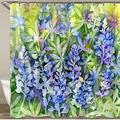 MEJAZING Shower Curtain,Watercolor Blue Green Wild Flower Spring Bluebonnet Texas Spring Flowers Hill Country,Polyester Fabric Waterproof Bath Curtains Hooks Included - 72 x 72 inches