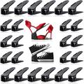 RISETEX Shoe Slots Organizer 24 Pack,Easy Shoe Stacker,Increase Space by 200%,Adjustable 4 Level Shoe Space Savers,Double Deck Shoe Rack Holder for Closet Organization,Black