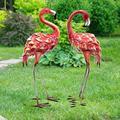 CYA-DECOR Vintage Garden Flamingo Outdoor Statue, Metal Garden Sculpture Yard Art for Backyard Porch Patio Home Decoration, Pink Flamingo Lawn Ornaments (2-Pieces)