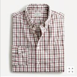 J. Crew Shirts | J. Crew Nwt Slim Stretch Plaid Cotton Poplin Shirt | Color: Red/White | Size: L
