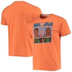 """Men's Homage RJ Barrett & Obi Toppin Heathered Orange New York Knicks NBA Jam Tri-Blend T-Shirt"""