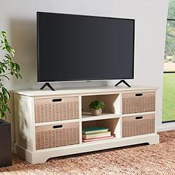 """Safavieh Distressed White Home Collection Landers 4-Drawer Media Stand (up to 55-inch Flat Screen TV), 47.3"""" W x 15.8"""" L x 20"""" H"""