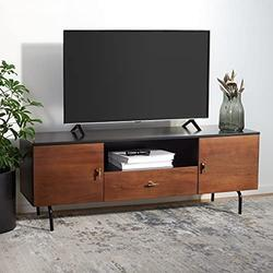 """Safavieh Black/Walnut Home Collection Genevieve Media Stand (up to 60-inch Flat Screen TV), 54"""" W x 15.7"""" L x 19.7"""" H"""